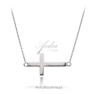 Łańcuszek srebrny z krzyżykiem DUŻY. Biżuteria celebrytek.