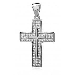 Krzyżyk srebrny z mikrocyrkonią. Śliczny delikatny krzyżyk .