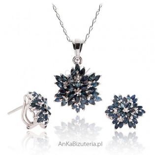 Komplet srebrnej biżuterii z naturalnymi kamieniami -Biżuteria z szafirem CERTYFIKAT!