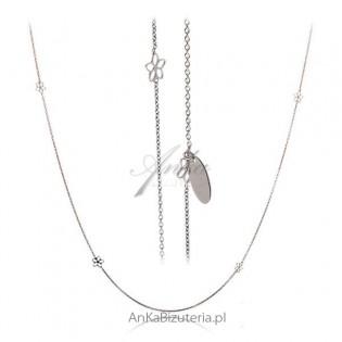 Delikatny naszyjnik  w ażurowe Kwiatki - Biżuteria włoska