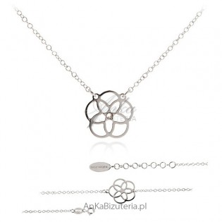 Komplet biżuterii srebrnej z rozetką
