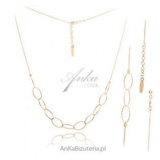 Komplet biżuterii srebrnej pozłacany