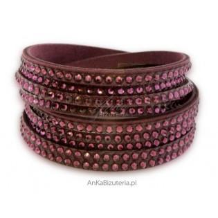 Modna biżuteria : Bransoletka Swarovski - fioletowa