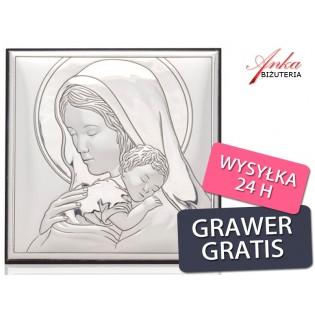 Obrazek srebrny Maryja tuląca Jezusa