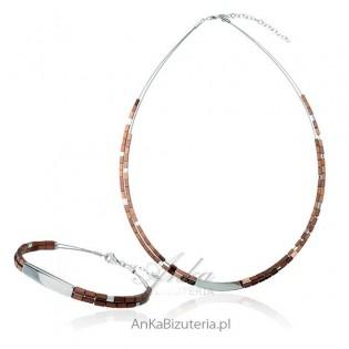Komplet srebrny z hematytami - brązowy