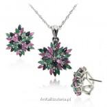 Elegant jewelry set of sapphire ruby emerald