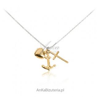 """Naszyjnik srebrny """"Wiara Nadzieja Miłość""""  - Piękna biżuteria na prezent"""