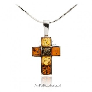Krzyżyk z bursztynem Biżuteria srebrna
