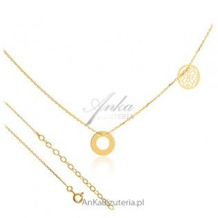 Naszyjnik gwiazd  - Naszyjnik srebrny pozłacany z delikatnymi przywieszkami