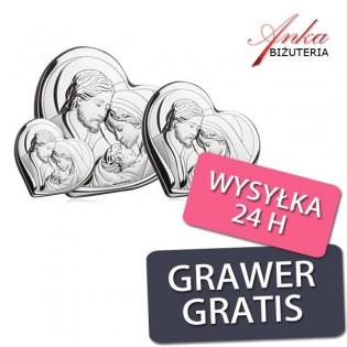 Obrazek srebrny Święta Rodzina Pamiątka na Prezent -Dwa rozmiary do wyboru!