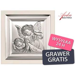 Pamiątka dla dziecka - Obrazek srebrny Aniołek nad dzieckiem - 19 cm* 19 cm