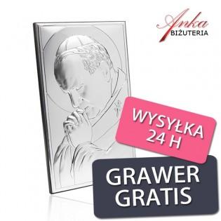 Obrazki srebrne - Papież Jan Paweł II z Grawerem 9 cm* 15 cm
