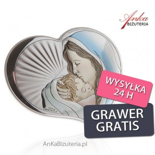Srebrny obrazek Madonna z dzieciątkiem w sercu 7,5 cm * 6,5 cm