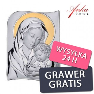 Obrazek srebrny Madonna z dzieciątkiem