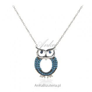 Biżuteria srebrna - Naszyjnik srebrny sowa z turkusami