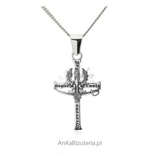 Krzyż patriotyczny Bóg Honor Ojczyzna z Orzełkiem