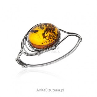 Piękna bransoletka srebrna z bursztynem - biżuteria artystyczna