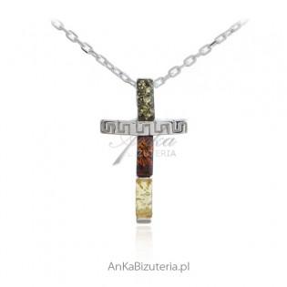 Krzyżyk srebrny z kolorowym bursztynem - bursztyn bałtycki