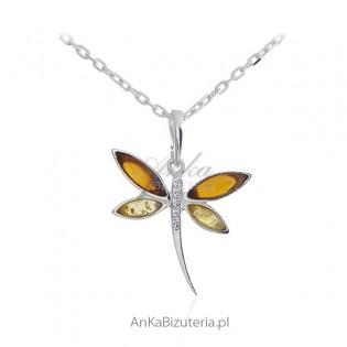 Wisiorek srebrny WAŻKA - biżuteria srebrna z bursztynem
