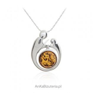 Naszyjnik srebrny z bursztynem MAMA Z DZIECKIEM