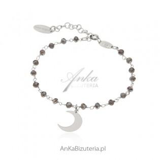 Bransoletka srebrna z szarymi kryształkami i księżycem - Biżuteria włoska
