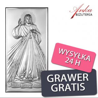 Obrazek srebrny : Jezu Ufam Tobie  12 cm/6 cm
