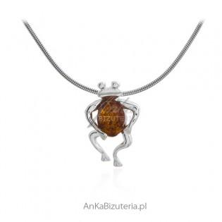 Zawieszka srebrna mała  żabka z bursztynem