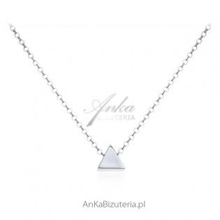 Naszyjnik srebrny trójkąt trójwymiarowy - Biżuteria srebrna włoska