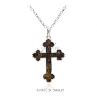 Krzyżyk srebrny z bursztynem w pięknej formie