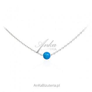 Srebrny naszyjnik z niebieskim opalem  - KULKA z opalu