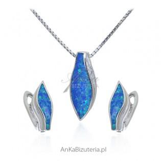 Biżuteria srebrna komplet z niebieskim opalem
