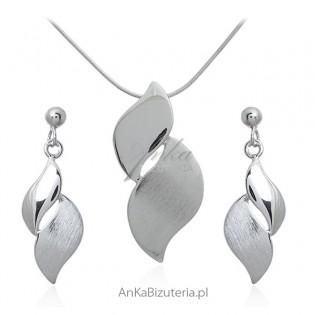 Biżuteria srebrna komplet satynowany i rodowany