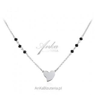 Srebrny naszyjnik z czarnymi onyksami i sercem