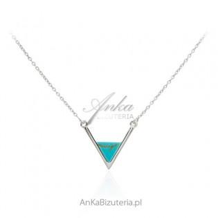 Naszyjnik srebrny z niebieskim turkusem