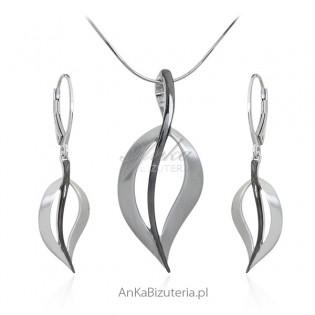 Komplet biżuteria srebrna rodowana i oksydowana LISTKI