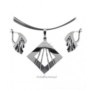 Biżuteria srebrna Komplet oksydowany FANNY