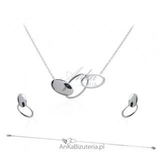 Piękny komplet biżuterii srebrny rodowany