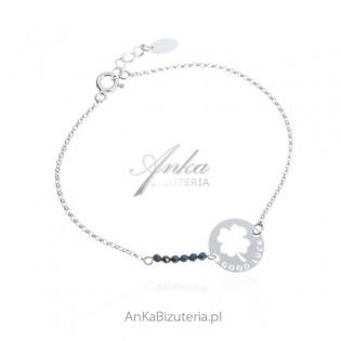 "Biżuteria na Prezent - bransoletka srebrna ze spinelami z sentencją""GOOD LUCK"""