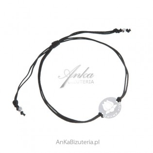 Biżuteria na Prezent  srebrna bransoletka na czarnym sznurku THANK YOU