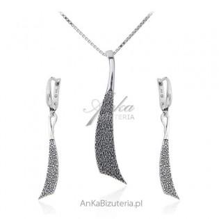 Biżuteria srebrna komplet oksydowany - Alisha