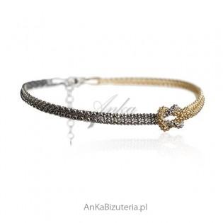 Biżuteria włoska Bransoletka srebrna rodowana i pozłacana