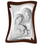 Devotion Silver picture of the Holy Family 9x11cm GRAWER