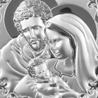 Obrazek ze Świętą Rodziną - ze srebra - piękne dewocjonalia. GRAWER