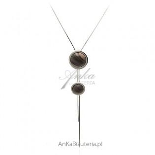 Naszyjnik srebrny z krzemieniem pasiastym