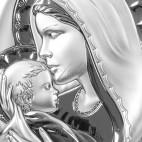 Maryja całująca w czółko Jezusa-srebrny obrazek. GRAWER