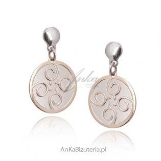 Kolczyki srebrne pozłacane Biżuteria włoska