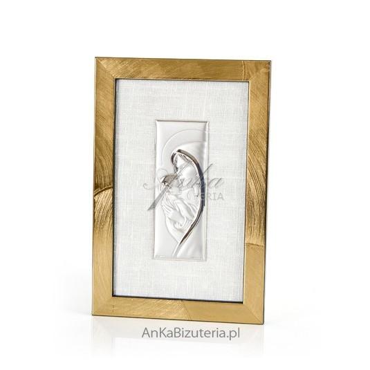 Obrazek srebrny w złotej ramce na lnianym płótnie -Maryja całująca w czółko Jezuska GRAWER