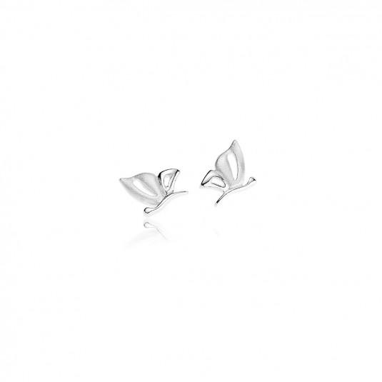 """""""Motylki""""- srebrne rodowane kolczyki-matowe skrzydelka i motyw świecący"""