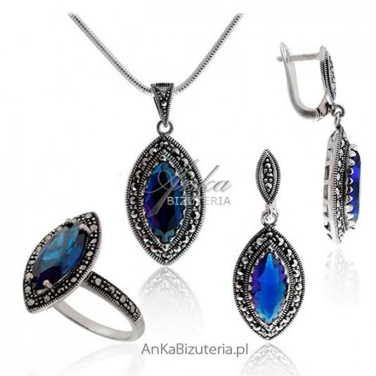 Elegancki komplet z markazytami i niebieskimi cyrkoniami