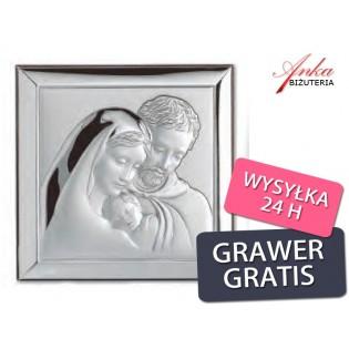 Święta Rodzina -obrazek srebrny -Wyjątkowy-na prezent- GRAWER